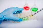 Biochemical research laboratory, using 96-well plates — Stock Photo