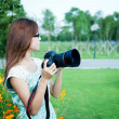 Nature photographer at work — Stock Photo