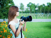 Nature photographer at work — Stock Photo