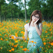 Stock Photo: Young girl in a flower field