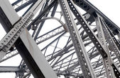 Support above the bridge, steel structure close-up — Stock Photo