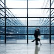 Silhouette in hall of office building — Stock Photo