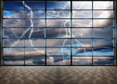 Through the large windows, Nature force background - lightnings in stormy Sky with dark clouds and rain — Stock Photo