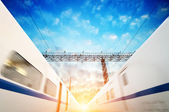 Two modern high speed train with motion blur — Stock Photo