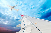Airplane wing, sky and clouds — Stock Photo