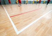 Wooden basketball court. Indoor sports playground — Stock Photo