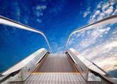 Escalator to the sky, urban fantasy landscape,abstract expression — Stock Photo