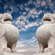 Stone Lion sculpture, symbol of protection & power in Oriental Asia especially China — Stock Photo