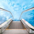 Moving escalator in an airport — Stock Photo