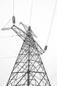 High-voltage tower sky background — Stock Photo