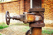 Rusty sewer valve - underground old sewage treatment plant in Shanghai. — Stock Photo