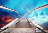 Escalator to the sky, urban fantasy landscape,abstract expression — Stock Photo