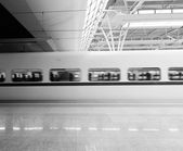High-speed train station, then the train a few close-ups — 图库照片