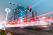 Moving car with blur light — Stock Photo