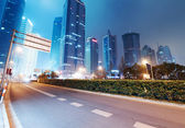 Shanghai Lujiazui Finance & Trade Zone modern city night background — Stock Photo