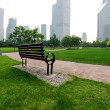 Stockfoto: Shanghai Lujiazui financial district, park benches