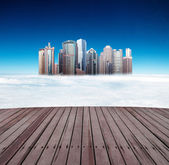 Higher than the clouds of skyscrapers — Stock Photo