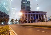 Shanghai Lujiazui Finance & Trade Zone modern city night background — ストック写真