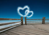 Two heart shaped clouds — Stock Photo