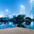 Night scenes of shanghai financial center district — Stock Photo