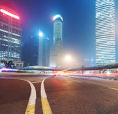 Shanghai Lujiazui Finance & Trade Zone modern city night background — Stock fotografie