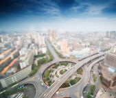 City with tilt-shift effect — Stock Photo