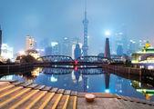Belle skyline de shanghai pendant la nuit, chine — Photo