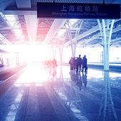 Train stop at railway station — Stock Photo