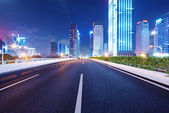 Shenzhen, China, and urban transport in the night — Stock Photo