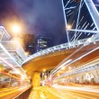 Hong Kong night view with car light — Stock Photo