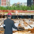 Architect looking comparing housing project — Stock Photo
