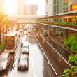 The sunset of the busy roads of major cities — Stock Photo