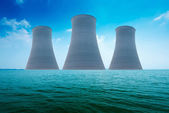Nuclear power plant on the coast. Ecology disaster concept. — Stock Photo