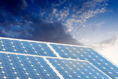 Solar energy panels with blue sky — Stock Photo