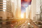 Solnedgången av de livligt trafikerade vägarna i storstäderna — Stockfoto