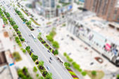 Aerial views of the city with tilt-shift effect — Stock Photo