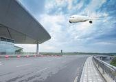 La escena del aeropuerto t3 construcción en beijing china. — Foto de Stock