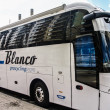 Stock Photo: Bus of blanco cycling team