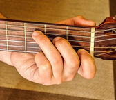 C Mayor position on a classical guitar — Stock Photo
