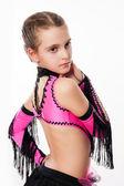 Dívka v růžových šatech pro tanec — Stock fotografie