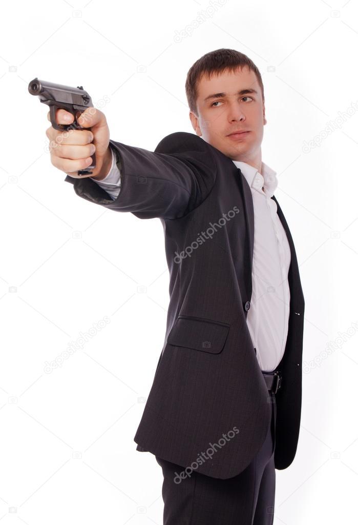 彼の手で銃を持つ男 — ストック...