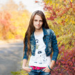Pretty teenage girl in the autunm park — Stock Photo