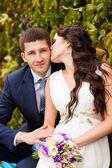 Happy newlyweds in park. — Stock Photo