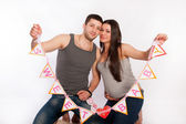 Portrait of happy couple expecting a baby. — Foto Stock