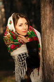 Russian girl in national headscarve — Stock Photo
