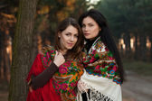 Russian girls in national headscarves — Stock Photo