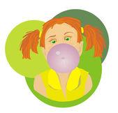 Dziewczyna bubble gum — Wektor stockowy