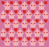 эротический мультфильм фон с презервативы и сердца — Cтоковый вектор