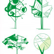 Ornamental tree set — Stock Vector