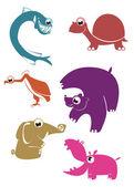 Cartoon funny animals set — Stock Vector